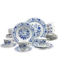 CreaTable Kombiservice Porzellan 30 Teile Zwiebelmuster blau