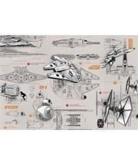 Papiertapete Blueprints 368/254 cm KOMAR grau