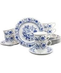 CreaTable Kaffeeservice Porzellan 18 Teile Zwiebelmuster blau