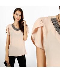 Lesara Chiffon-Bluse mit Steinchen-Kragen - S