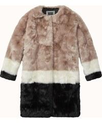Maison Scotch Fun colourblocked fur jacket