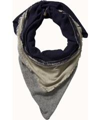 Maison Scotch Triangle scarf with colourblocking and ruffles