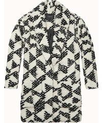 Maison Scotch Cocoon fit wool coat in special geo dessin