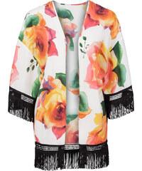 BODYFLIRT Kimono à franges blanc femme - bonprix