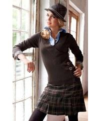 Značková vlněná zimní kostkovaná sukně TAMARIS (vel.42 skladem) 36 antracit