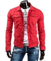Pánská džínová bunda červená