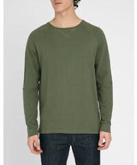 M.STUDIO Khakifarbenes Sweatshirt aus Baumwolle mit Raglanärmeln und kleinem Einsatz am Kragen