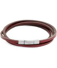 TATEOSSIAN Dreifach-Armband Fetuccinni aus Silber und rotem Leder 58cm