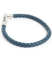 TATEOSSIAN Armband Ziggy aus Silber und blauem italienischen Leder 19,5 cm