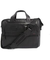 TUMI Schwarze erweiterbare Computertasche aus Leder Alpha Business