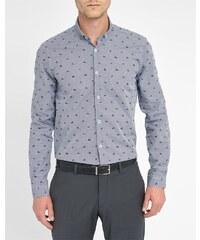 ATELIER PRIVÉ Hemd mit kleinem Kragen blau kleine Sneaker-Motive