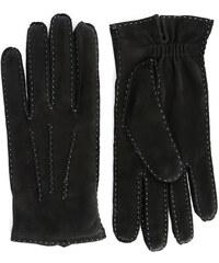 AGNELLE Schwarze Nubukleder-Handschuhe mit blauen Übernähten Arthur