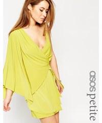 ASOS PETITE - Robe courte portefeuille asymétrique - Vert