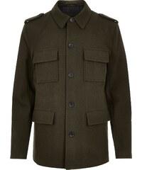 RI Vlněný kabát tmavě zelené barvy