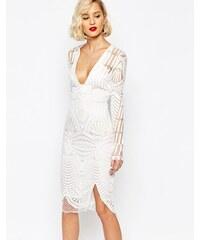 Lavish Alice - Besticktes Wickelkleid in Midilänge mit tiefem Ausschnitt - Weiß