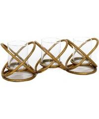 Kovový svícen Golden Trio, 40x10x14 cm