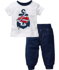 bpc bonprix collection T-shirt + pantalon sweat (Ens. 2 pces.) en coton bio bleu manches courtes enfant - bonprix