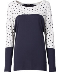 BODYFLIRT T-shirt à pois bleu manches longues femme - bonprix