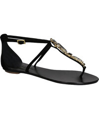Sandales plates bijoux Le Capresi en cuir daim noir