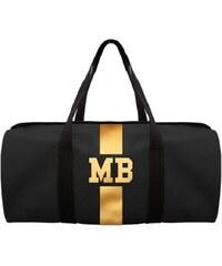 Mia Bag Černá taška (unisex) - válec - zlatý pás, Barva zlatá