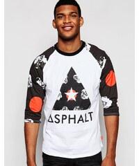 Asphalt Yacht Club - T-Shirt mit Logo und 3/4 langen Raglanärmeln - Weiß