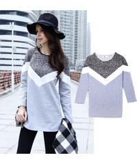 Lesara Langer Sweater dreifarbig - L