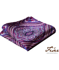 Fišer Hedvábný kapesníček fialovo růžovo modrý - vzorovaný