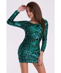 Dámské flitrové mini šaty EVA LOLA zelené