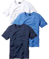 bpc bonprix collection Lot de 3 T-shirts Regular Fit bleu manches courtes homme - bonprix