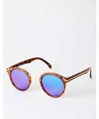 ASOS - Runde Sonnenbrille mit Metall-Nasensteg und flachen getönten Gläsern - Braun