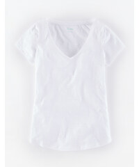 Leichtes Shirt mit V-Ausschnitt Wei� Damen Boden