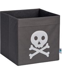 STORE !T Úložný box Pirátská lebka, 33x33x33 cm - šedý