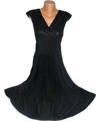Společenské šaty i pro plnoštíhlé - černé s krajkovým dekoltem