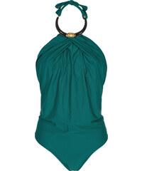 Lenny Niemeyer Maillot Une Pièce Drapé Vert, Encolure Bijou - Stone Necklace Maillot Emerald