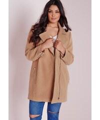 MISSGUIDED Béžový kabát na zip s kapsami
