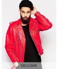Reclaimed Vintage - Veste motard en cuir - Rouge