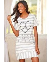 Gestreiftes Nachthemd mit herzförmigem Peaceprint Arizona grau 32/34,36/38,40/42,44/46