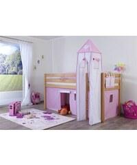 Kinder RELITA Halbhohes Bett Set 3-tlg. Alex rosa-weiß, Herz