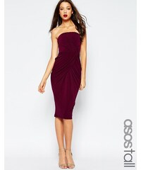 ASOS TALL - Robe mi-longue bandeau avec jupe croisée torsadée - Violet