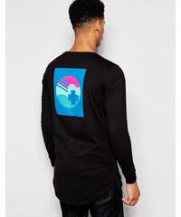 Pink Dolphin - Langärmliges T-Shirt mit Rückenaufdruck - Schwarz