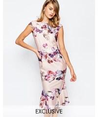 True Violet - Bleistiftkleid mit Bardot-Ausschnitt und Blumenmuster - Mehrfarbig