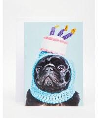 Jolly Awesome - Carte d'anniversaire motif carlin à chapeau - Multi