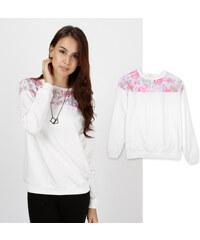 Lesara Sweater mit Blumen-Muster-Einsatz - L