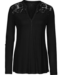BODYFLIRT T-shirt avec dentelle noir manches longues femme - bonprix