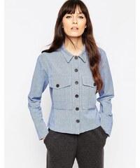 ASOS - Veste style chemise boutonnée en chambray - Bleu