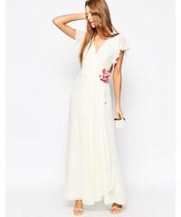 ASOS WEDDING - Maxikleid mit Wicklung und Corsage - Weiß