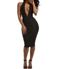 Černé sexy šaty s odhalenými zády