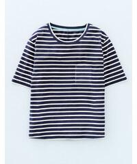 Superweiches kastiges T-Shirt Gestreift Damen Boden