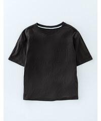 Superweiches kastiges T-Shirt Schwarz Damen Boden