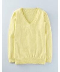 Lässiger Pullover mit V-Ausschnitt für jeden Tag Gelb Damen Boden